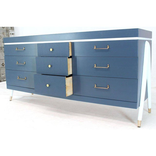 Birch White and Blue Exposed Sculptural Compass Shape Legs Nine Drawers Dresser For Sale - Image 7 of 9