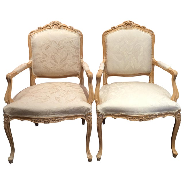Louis XV Style Oak Wood Chairs - A Pair - Image 1 of 5