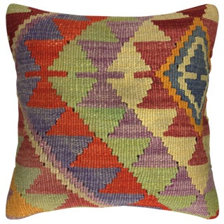 "Vibrant Turkish Rug & Relic Kilim Pillow | 16"" For Sale"