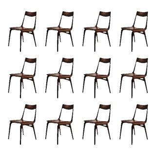 Mid-Century Modern Refinished Alfred Christensen Teak Boomerang Chairs - Set of 12 For Sale