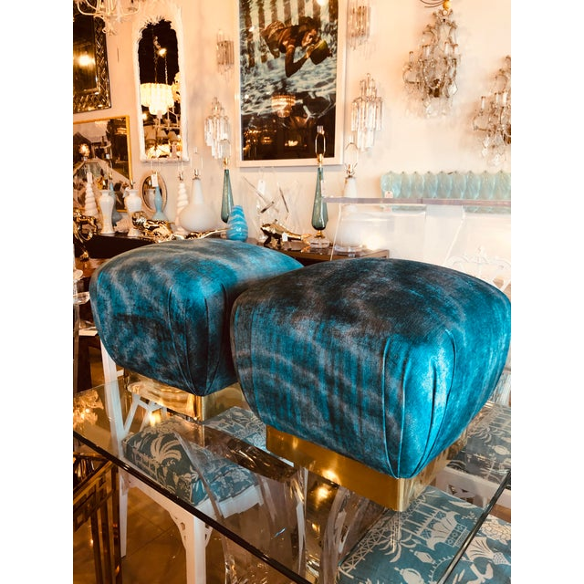 Hollywood Regency Vintage Hollywood Regency Aqua Velvet & Brass Poufs Ottomans Benches -A Pair For Sale - Image 3 of 13