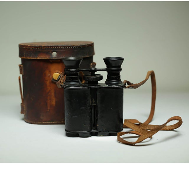 Leather Wrapped Binoculars and Leather Case C. 1940-1950s For Sale - Image 11 of 11