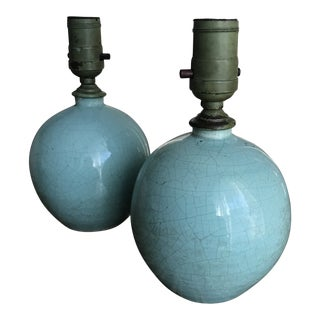 Early 20th Century Aqua Blue French Crackled Earthenware Lamps - a Pair For Sale