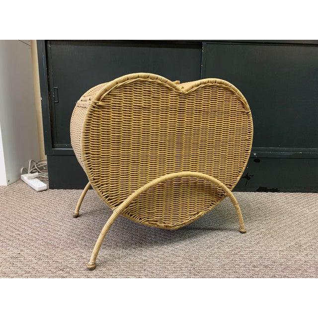 Vintage Rattan Heart Shaped Storage Laundry Hamper For Sale - Image 4 of 11