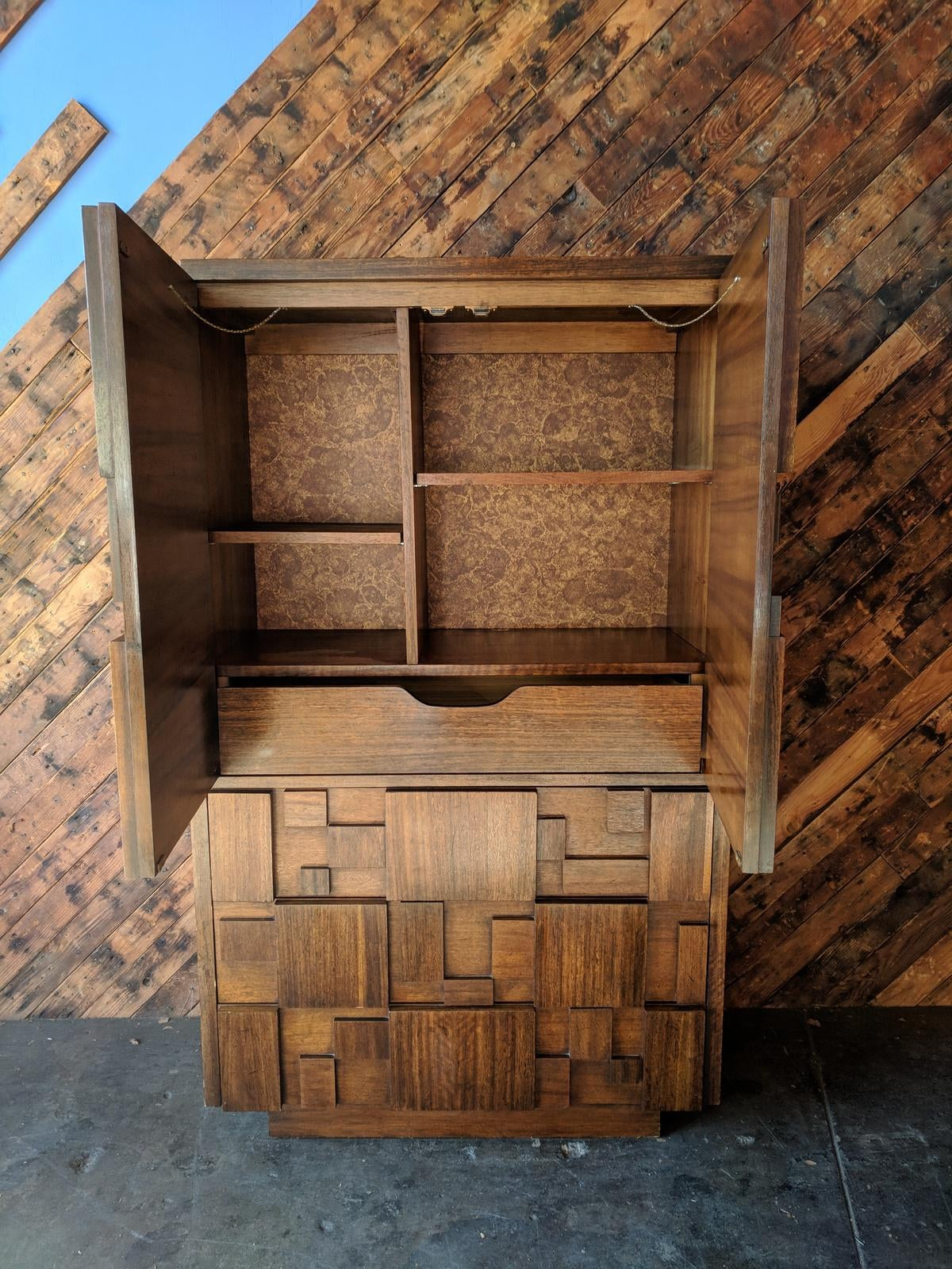 Genial Brutalist Vintage Walnut Armoire By Lane Furniture Co.   Image 2 Of 9