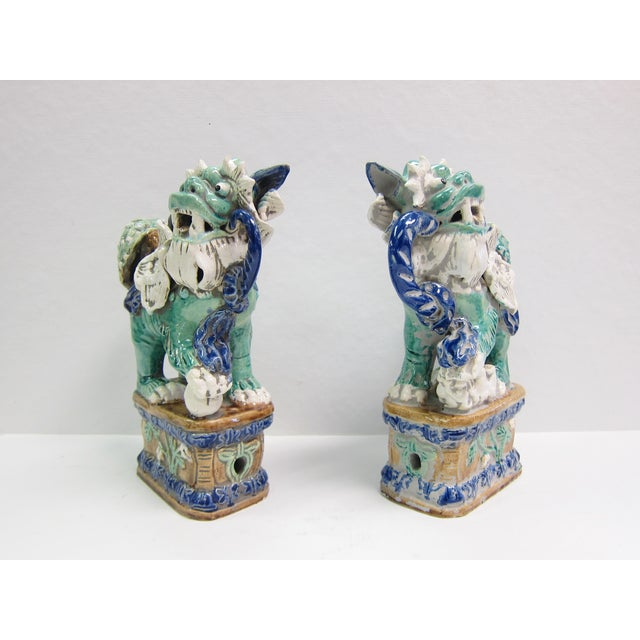 Vintage Turquoise Foo Dogs - A Pair - Image 6 of 8