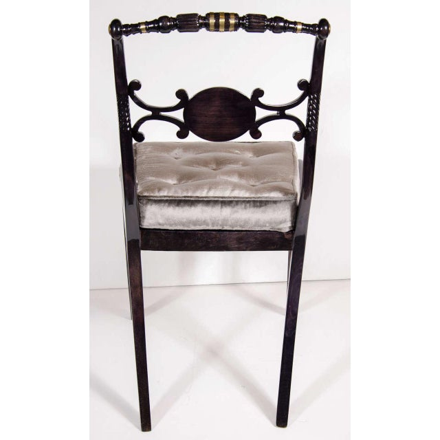 Brass Elegant 1940s Hollywood Side Chair with Gilt Brass Accents For Sale - Image 7 of 8