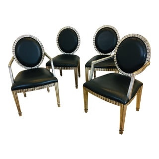 Italian Leather Dining Chairs- Set of 4 For Sale