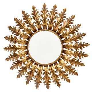 Spanish Vintage Sunburst Mirror With Backlight For Sale