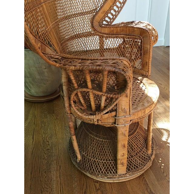 Tan Vintage Emmanuel Wicker Peacock Chair For Sale - Image 8 of 13