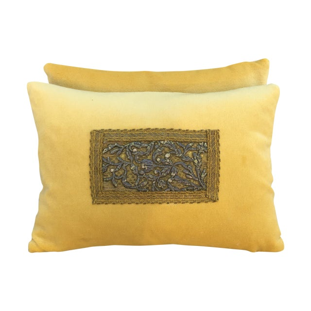 Metallic Embroidered Velvet Pillows - A Pair - Image 1 of 5