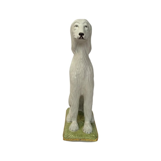 Italian Ceramic Afghan Hound Statue For Sale