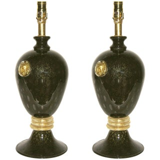 Seguso 1960s Italian Vintage Black and Gold Murano Glass Lamps - a Pair For Sale