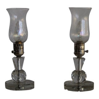 Waterford Crystal Hurricane Lamps -a Pair For Sale