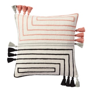 "Loloi Modern Concentric Lines Asymmetrical Fringed Pillow, Natural / Multi - 18"" x 18"" Cover with Poly Pillow"