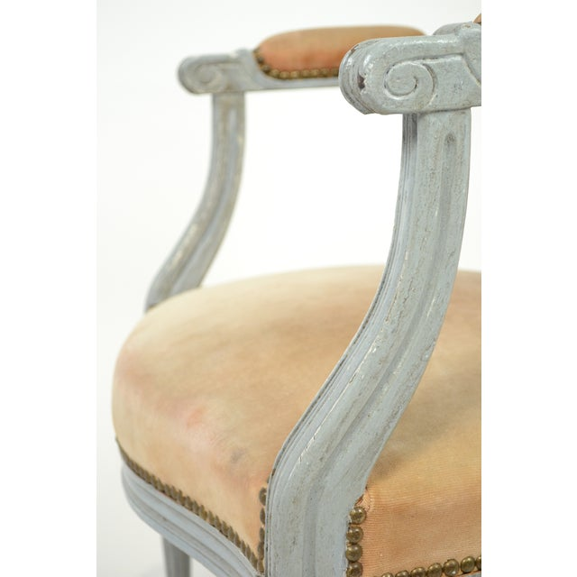 Louis XVI Gray-Blue Frame Armchairs - A Pair - Image 7 of 10