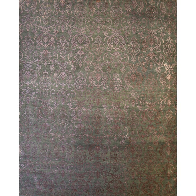 Cotton Contemporary Blue and White Striped Rug - Jean Blue (8x10) For Sale - Image 7 of 7