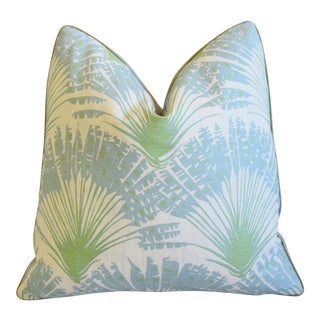 """Designer Tropical Palm Leaf Linen Feather/Down Pillow 21"""" Square For Sale"""