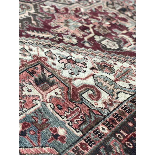 """1930's Vintage Persian Heriz Large Area Rug 9'2""""x10'7"""" For Sale - Image 10 of 13"""