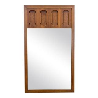 Mid-Century Walnut & Burl-Wood Mirror For Sale