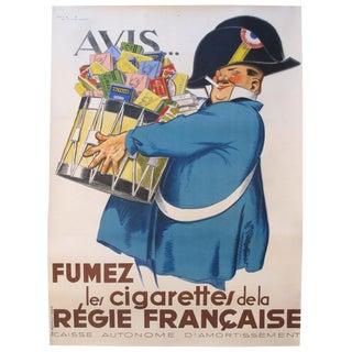1920s Original French Art Deco Poster, Avis Fumez/Régie Française For Sale