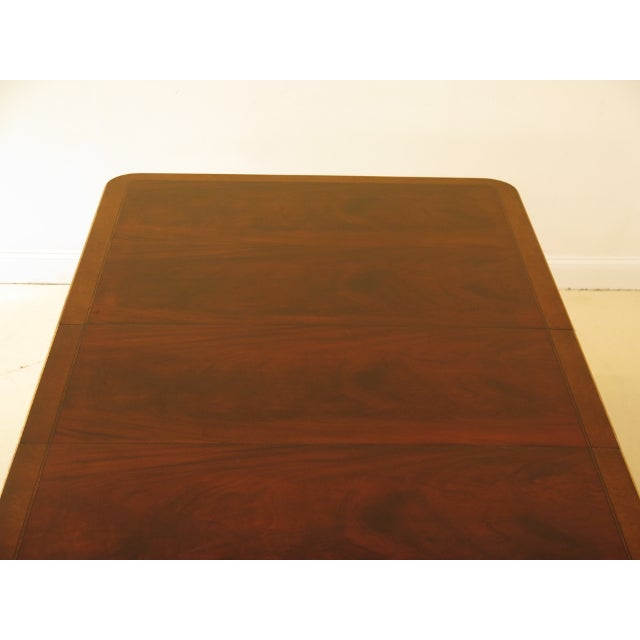 Hollywood Regency 1990s Vintage Baker Furniture Company Regency Style Mahogany Dining Table For Sale - Image 3 of 13