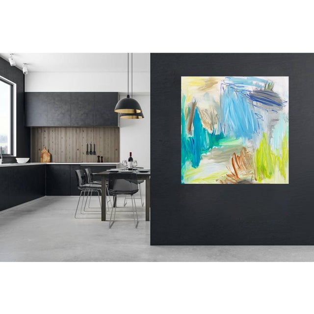 """""""Huka Falls"""" by Trixie Pitts Large Abstract Oil Painting For Sale - Image 10 of 13"""