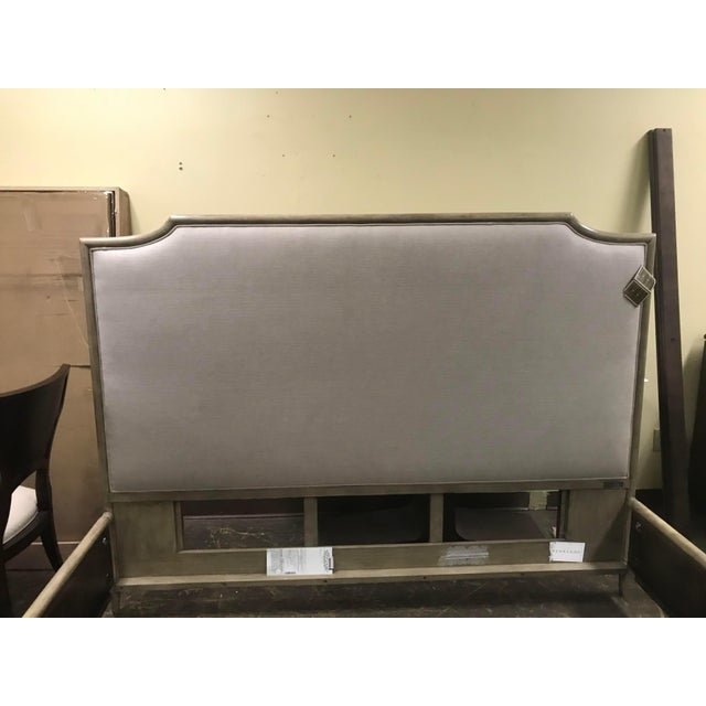 2010s Henredon Furniture 1945 Collection Catherine Grey Makore Upholstered King Panel Bed For Sale - Image 5 of 12