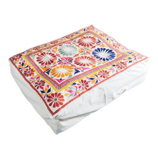 Modern Indian Embroidered Floor Cushion Double Wide Pouf For Sale