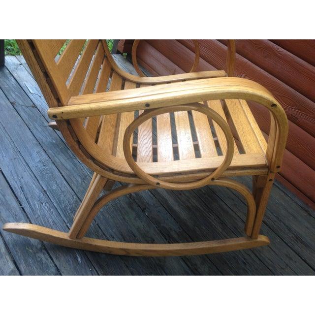 Contemporary 1990s Vintage R. Benna Bent Oak Slat Back Rocking Chair For Sale - Image 3 of 13