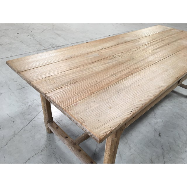 Antique Pale Blonde Beech Farm Table For Sale In Los Angeles - Image 6 of 9