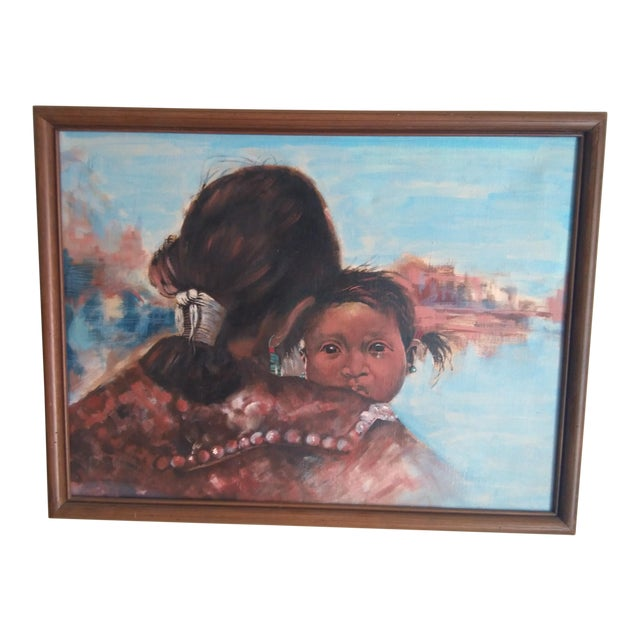 Native American Woman & Child Mid-Century Western Painting For Sale