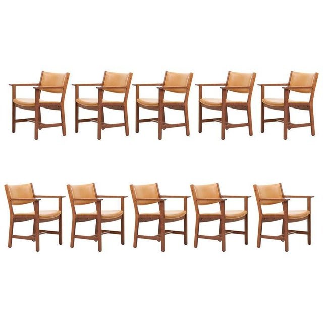 Set of Ten Ge 1960s Armchairs in Leather by Hans Wegner for by Getama, Denmark For Sale - Image 13 of 13