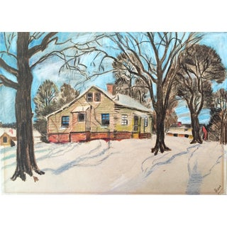 Vintage Colored Pencil Winter Cabin Drawing For Sale