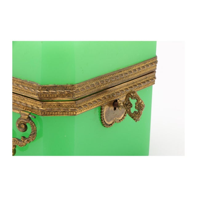 Metal 19th Century French Green Opaline Glass Casket For Sale - Image 7 of 8