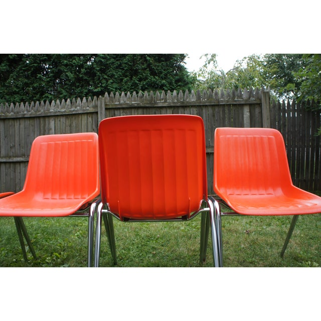 Metal Vintage Columbia Mfg. Stacking Shell Chairs- Set of 10 For Sale - Image 7 of 12