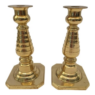 Pair of English Polished Brass Candlesticks For Sale