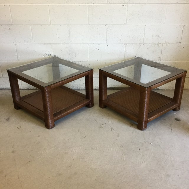 Janus Et Cie Wicker & Glass Top End Tables For Sale - Image 11 of 11