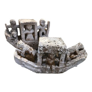 19th Century Large Carved Stone Boat Outdoor Sculptures - 2 Pieces For Sale
