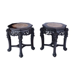 Antique Marble Side Tables or Stools - a Pair