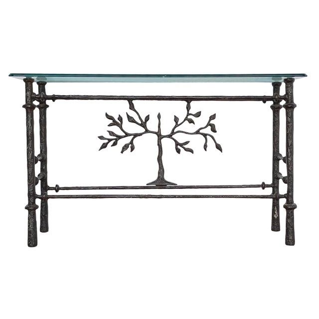 Exquisite tree of life console table in the manner of Giacometti welded metal with glass a truly stunning piece glass...