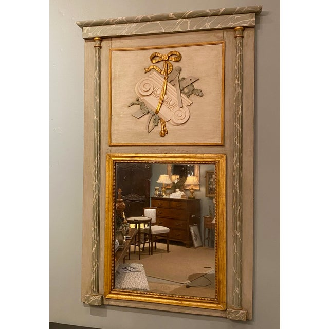 Tan 19th Century French Painted Trumeau Mirror For Sale - Image 8 of 9