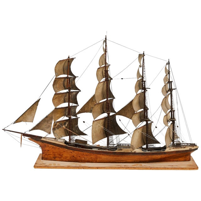Late 19th Century Handmade Wooden Ship Model From France For Sale