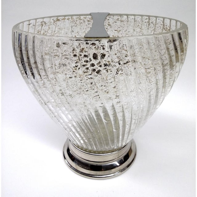 Lovely Art Deco swirly vase flecked with gold dust inside and detailed with a silver footed stand and silver divider on...