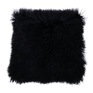 Tibetan Lamb Pillow in Black 20x20 For Sale