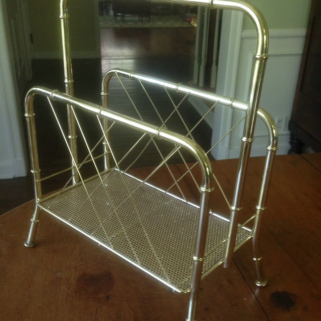 Vintage Faux Bamboo Gold Magazine Rack For Sale - Image 9 of 11