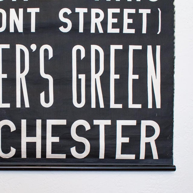 Uk Bus Route Sign on Linen   1960's British Transit Scroll   Industrial Graphic Print For Sale - Image 6 of 10