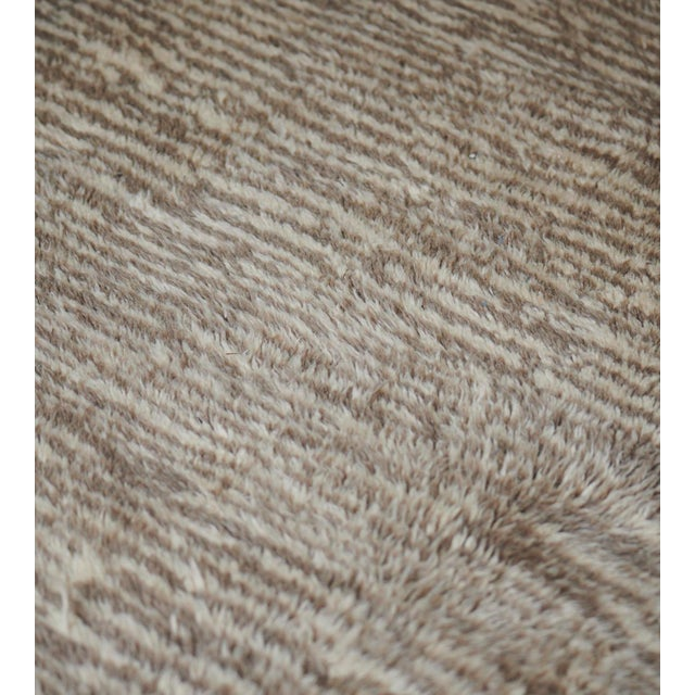 MANSOUR Handwoven Deep Pile Wool Rug For Sale - Image 4 of 7