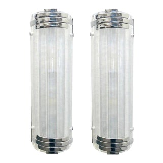Marlene Frosted Murano Glass Chrome Sconces / Flush Mounts by Fabio Ltd - a Pair For Sale