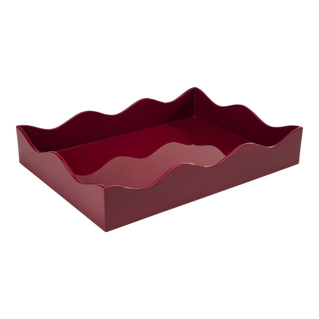 Medium Belles Rives Tray in Bordeaux Red - Rita Konig for The Lacquer Company For Sale